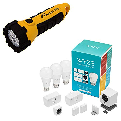Toucan City LED Flashlight and Wyze Smart Home Starter Bundle Includes Camera, Contact Sensor (2), Motion Sensor, Bulb (3), Plug (2), SD Card WSHSB