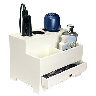 Richard Homewares - Hair Styling Storage Chest - Wood, 9 Hx12 Wx8.5 D, White