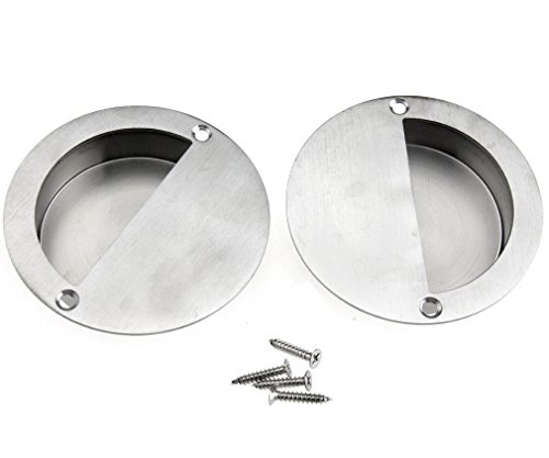 (2pcs Stainless Steel Sliding Door Pull Handle Flush Recessed Circular w/Screws)