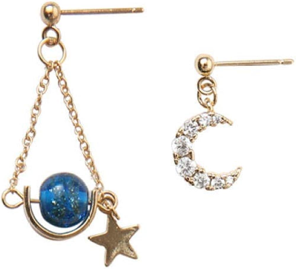 Pendientes hechos a mano con luna de circonita, cielo estrellado de fantasía, pendientes asimétricos con estrella brillante