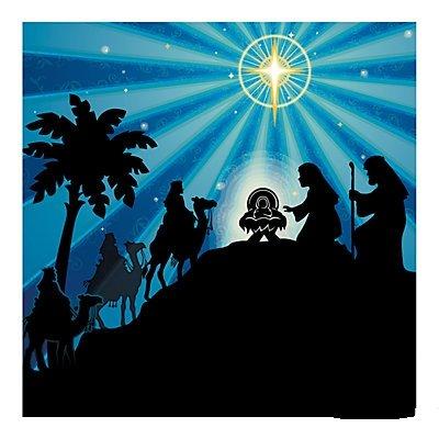 Silhouette Nativity Backdrop Banner