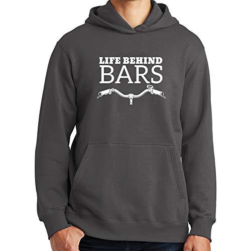 Life Behind Bars Bike Bicycle Mountain BMX Mens Hoodie CHR 5XL Charcoal Grey