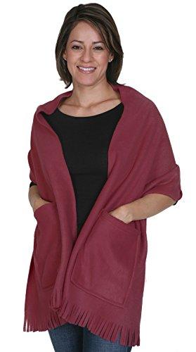 KC Caps Soft Fleece Fringed Shawl Wrap Shoulder Cozy Winter Scarf with Pockets