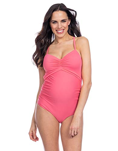 Seraphine Coral Cutout Maternity Swimsuit,Coral,Small - Cut Coral Out