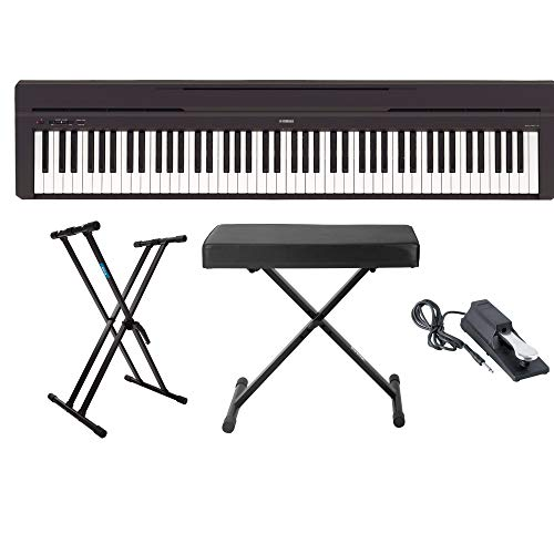 Yamaha P45B 88-Key Digital Piano with Knox Gear Keyboard Stand, Adjustable Bench and Sustain Pedal