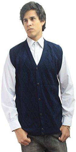 Merino Wool Sweater Vest - Mens Soft Alpaca Wool Knitted V Neck Sweater Button Down Golf Vest Diamond Design (M, Navy Blue)