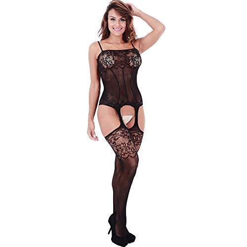 Lingerie Bodystockings,Women Stretch Fishnet Lace Exotic Underwear Bodysuit Black OneSize