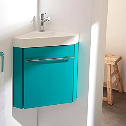 Ensemble meuble lave-main d\'angle pour wc vert lagon ...