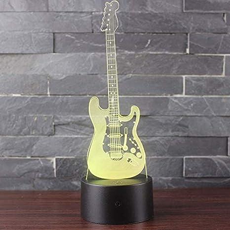 3D LED Luz de Noche Ilusión óptica Lámpara Guitarra negra 7 ...