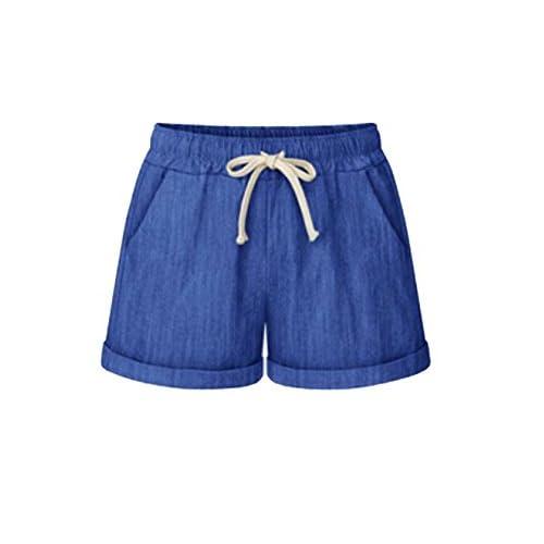 Wholesale BYWX-Women Solid Plus Size Pocket Drawstring Waist Midi Thin Shorts free shipping