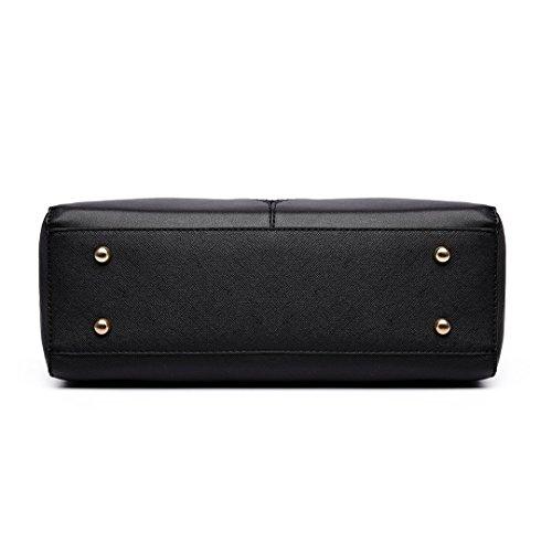Women Lulu 6632 Ladies Leather Shape Design Patchwork V Handbag Bag Tote Shoulder Miss Black Girls for 7qw6d4q