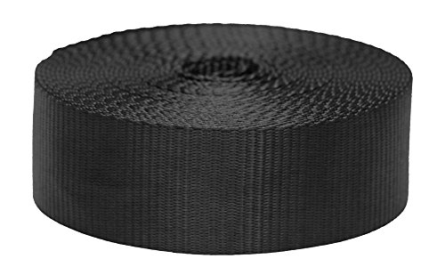 Heavy Strap - Strapworks Colored Flat Nylon Webbing - Strap For Arts And Crafts, Dog Leashes, Outdoor Activities - 2 Inches x 10 Yards, Black