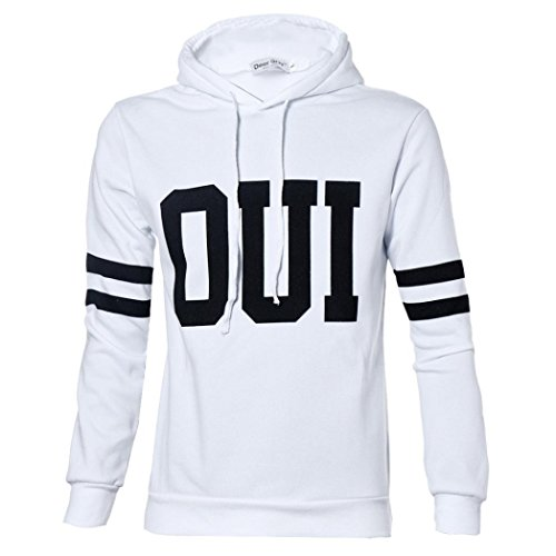 [XUANOU Man Letter Printed Hooded Sweatshirt Pullover Jacket (Medium, White)] (Red Coat Army Costume)