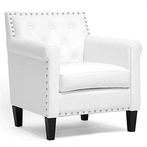 BOWERY HILL Faux Leather Accent Chair in White