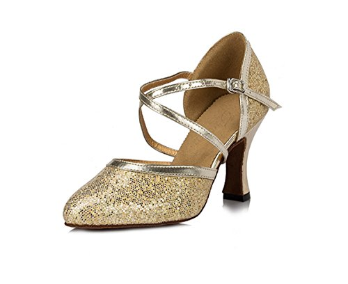 Miyoopark Heel Ballroom Gold Strap Light Dance Glitter Shoes Ankle Pumps Ladies Wedding Tango Latin 8cm rYxRr