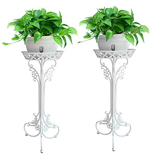 (Pack of 2 White Iron ArtFlowerPot Stands with 1 Pots Planter Holder,Indoor Outdoor Garden Patio Plant Bonsai Decorative Display Flower Rack)