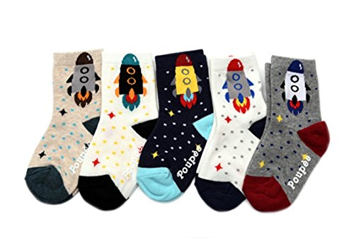 Baby Socks, Anti Slip, Rockett picture, 5-Pack set for 0-1 Year Baby from RAKURAKU