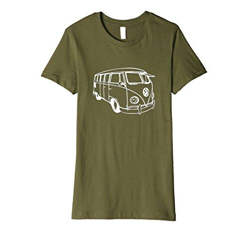 Womens Vintage Retro 1970s Camper Bus Sketch Art Outline T-shirt Large - Retro 1970s