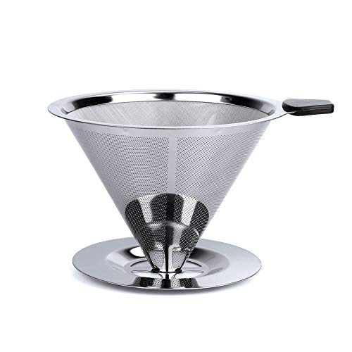 HouseHoo Pour Over Coffee Dripper, Pour Over Coffee Maker, Coffee Pour Over Set, Coffee Dripper with Cup Stand, Stainless Steel Reusable Drip Cone Coffee Filters, Portable Coffee Filter Brewer