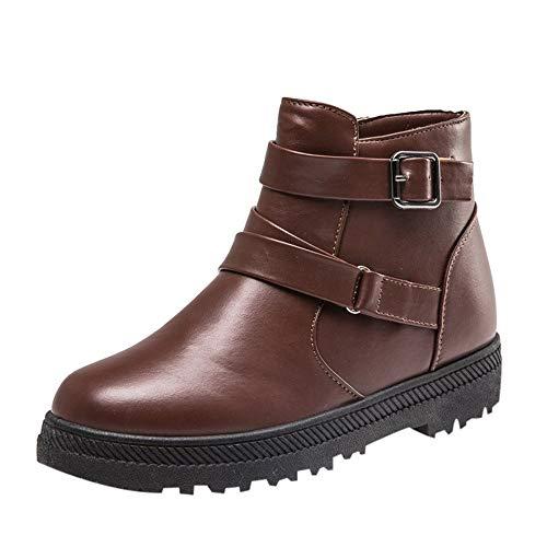Chaud Modeféminine Neige Solidehiver gongzhumm Courtes Marron À De Chaussures Plates Bottes Fermeture Boots Femmes Plates pq4BXB