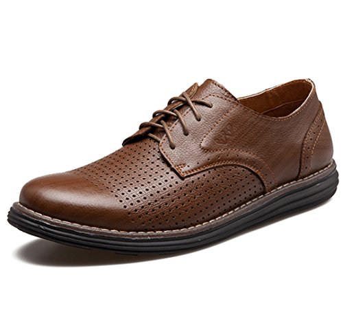 Men's Leather Casual Walking Shoes - Perfect for Outdoor Activities and Semiformal Occassions 539-38DBr by HUMGFENG (Image #7)