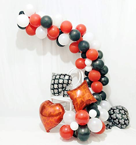 CASINO NIGHT 80pc Party Balloon decorations, Casino Las Vegas Party Balloons Playing Hanging Decorations Backdrop Red Black and White Latex Party Decorations for Graduation Birthday Wedding Bridal Shower Anniversary