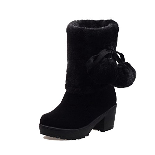 Round Low top Heels Black WeiPoot Solid Kitten Frosted Toe Women's Closed Boots wzxxYtq0