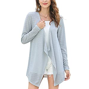 MessBebe Cardigan Été Long Asymetrique Ourlet Femme Veste en Tricot Ondulé à Manches Longues Sweater Ouvert Frontal…