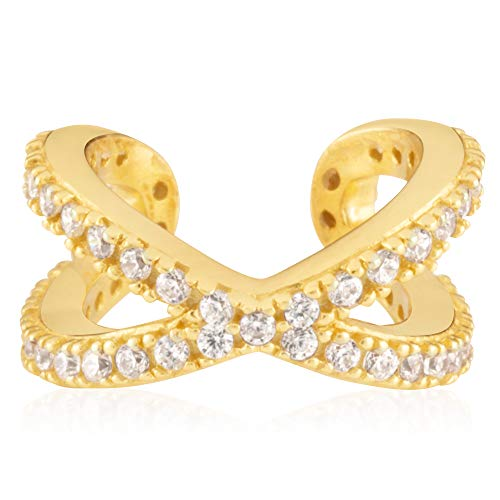 - 18K Yellow Gold Plated Sterling Silver and Clear Cubic Zirconia Women's Criss-Cross Pave Huggie Cuff Earring