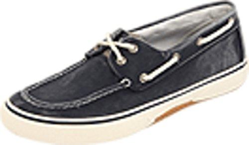Halyard 2 Eye Boat Shoe -Mens Canvas Navy/Honey 11.5 (Seaside Boats)