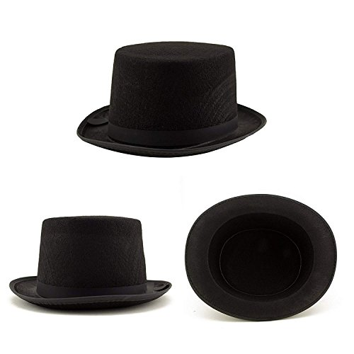 Adorox Sleek Felt Black Top Hat Fancy Costume Party Accessory (Black (1 Hat)) -