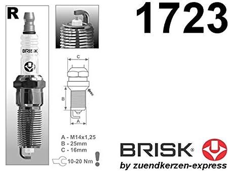 Brisk - Silver racing rr15ys-1 1723 bujías de encendido lpg cng autogas, 4 piezas: Amazon.es: Coche y moto