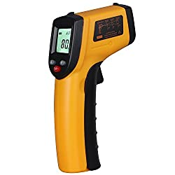 ANGGO IR Infrared Non-Contact Digital Temperature Gun Thermometer with Laser for Precisely Aiming, Bright LCD Display with LED Backlight (-58 °F to 716°F)