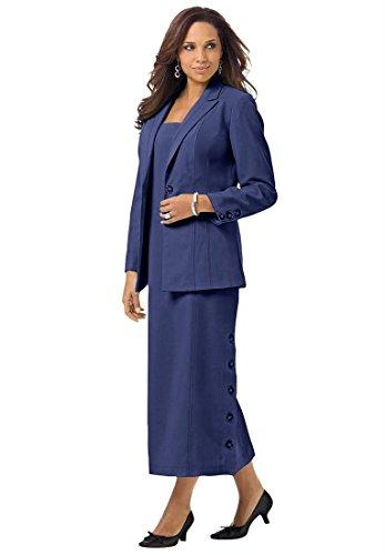 Roamans Women's Plus Size Side Button Jacket Dress (Dark Navy,16 W)