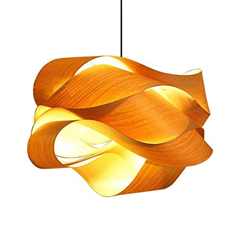 HZC Retro Style Pendant Light Wooden Chandelier Lighting Fixture E27 Hanging Lights for Bedroom Living Room Dining Room (Size : 60CM) (Rustic Wire Wood Chandelier And Basket)