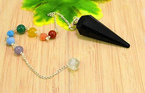 Black Agate 7 Chakra Reiki Healing Dowsing Divination Crystal Gemstone Pendulum Hexagon Point Stones Pendant/Bracelet Combination