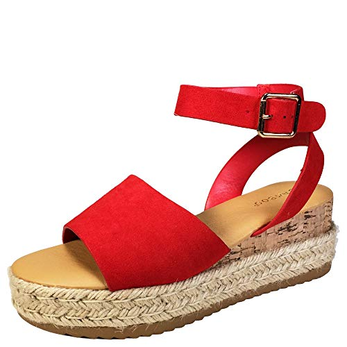 BAMBOO Women's Wide Band Espadrilles Platform Sandal with Ankle Strap, Red Faux Suede, 6.0 B (M) US