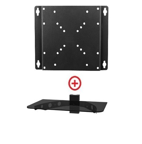 MountPlus 1070-31 Wall Mounted TV and Component Shelf Combo DVD DVR VCR Wall Mount Bracket for TV and DVD Player DSS Receiver Blu-Ray Media VCR Stereo Cable Box - Glass Shelf Holder (16