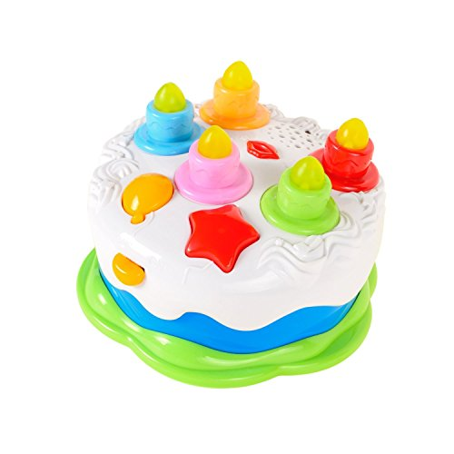 Luke4deals Musical Cake with Lights Music and Sounds - Happy Birthday cake with candles pretend play food - Toys for girls and boys kids or toddlers ()