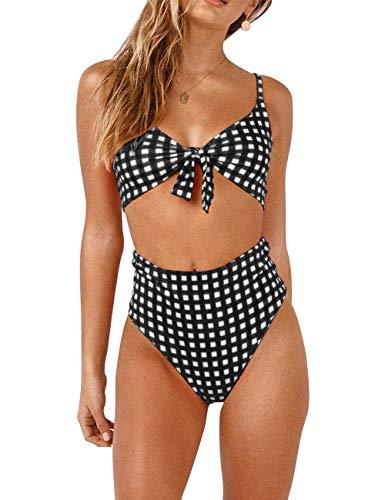 (Honlyps Bikini Swimwear Womens High Waisted Two Piece Swimsuit Tie Knot High Cut Bathing Suit for Women )