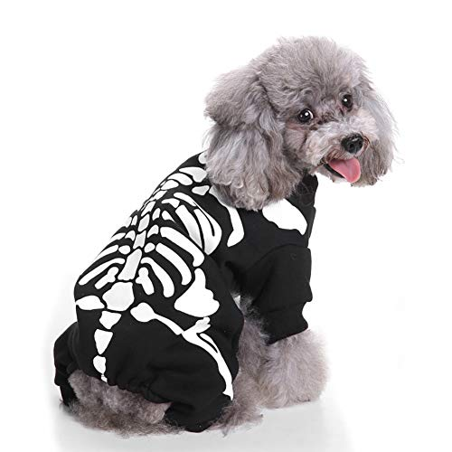 Casecover Pet Halloween&Christmas Costume Dog Puppy Halloween Wizard Cloak with Hat Pet Costume Fancy Dress Party Suit with Skeleton Pattern - Black Size M ()