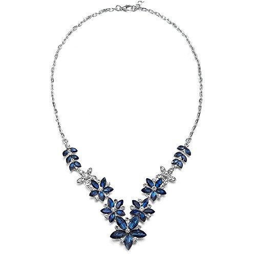 Marquise Cluster Pendant (MECTALII Rhinestone Necklace Blue Marquise Crystal Cluster Petal Flower Filigree Bridal Wedding Pendant)