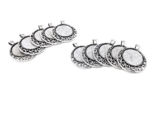Honbay 10pcs Moon and Star Design Round Picture Frame Charm Pendants Trays Photo Making Accessory (Silver)