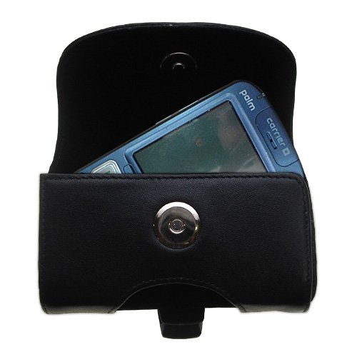 - Gomadic Brand Horizontal Black Leather Carrying Case for the Palm Treo 800 with Integrated Belt Loop and Optional Belt Clip