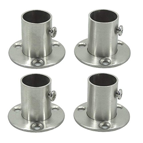 BTMB Flange Rod Holder Stainless Steel Closet Clothes Pole Rod Socket Heavy Duty Flange Support Braket,Pack of 4 (Dia 19mm/0.74