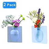 Removable Silicone Vases, antigravity Sticky vase on The Wall,Flower Vase Small Decoration Vase Suitable for Party, Exhibition, Wedding, Festival, Bathrooms, Home Kitchen ,Office Decoration(2pack)