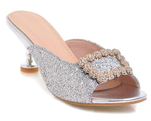 HiTime Mules 5 36 EU Silver Argenté Femme 8Onrd0B8