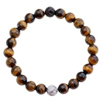 Top Plaza Unisex 8mm Agate Opalite Tiger Eye's Stone Beaded Bracelet, Healing Energy Balance Beads, 6-7 Inches