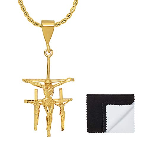 The Bling Factory Large 29mm x 49mm 14k Gold Plated Triple Crucifix 3D Cross Pendant + 30