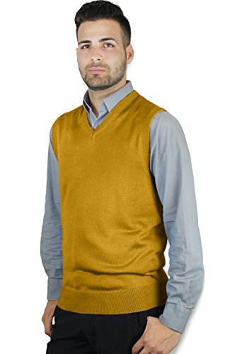 (Blue Ocean Solid Color Sweater Vest Mustard Medium)